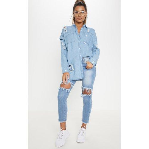 Chemise oversize en jean très délavé - PrettyLittleThing - Modalova