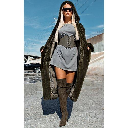 Manteau style militaire en fausse fourrure à capuche - PrettyLittleThing - Modalova