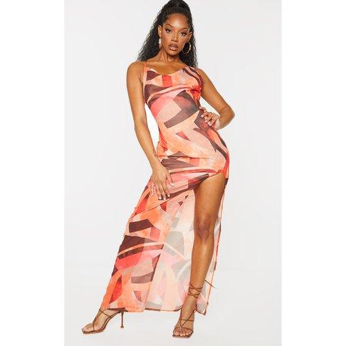 Robe longue imprimé abstrait en mousseline de soie à bretelles et jupe fendue - PrettyLittleThing - Modalova