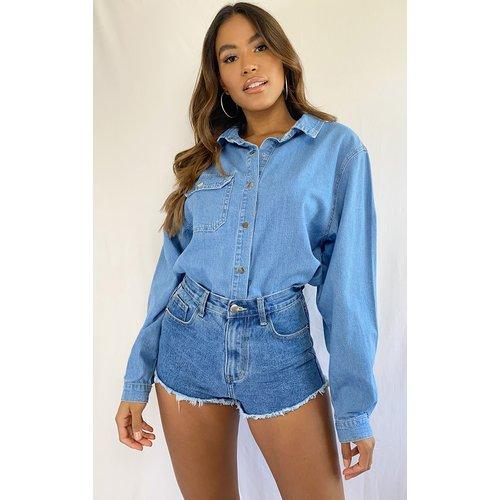 Chemise en jean très délavé à boutons pression - PrettyLittleThing - Modalova