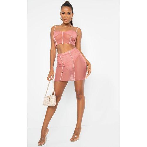 Mini-jupe en mesh vieux avec culotte intégrée - PrettyLittleThing - Modalova