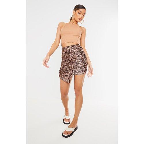 Mini-jupe portefeuille marron à imprimé  - PrettyLittleThing - Modalova