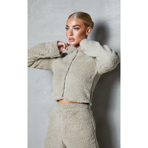 Veste courte zippée en imitation mouton  - PrettyLittleThing - Modalova