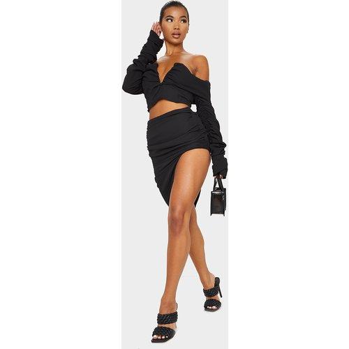 Jupe mi-longue tissée asymétrique à côté froncé - PrettyLittleThing - Modalova