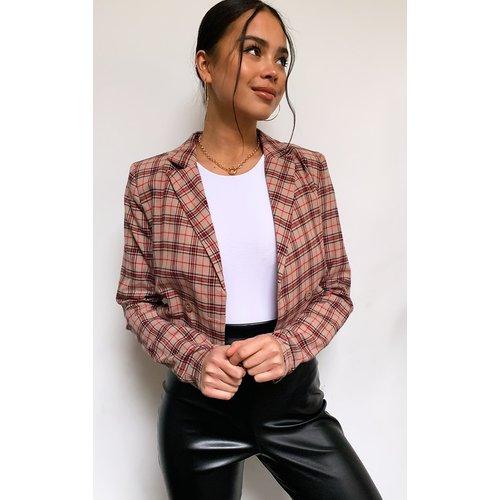 Chemise courte manches longues à épaulettes et carreaux - PrettyLittleThing - Modalova