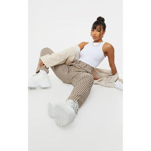 Pantalon droit en maille imprimé carreaux - PrettyLittleThing - Modalova