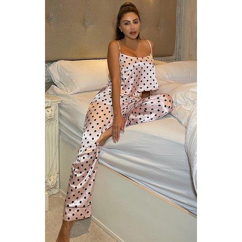 Pantalon de pyjama satiné imprimé pois Mix & Match - PrettyLittleThing - Modalova
