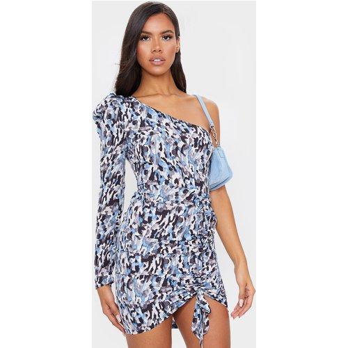Robe moulante asymétrique à imprimé abstrait bleuet et jupe froncée - PrettyLittleThing - Modalova