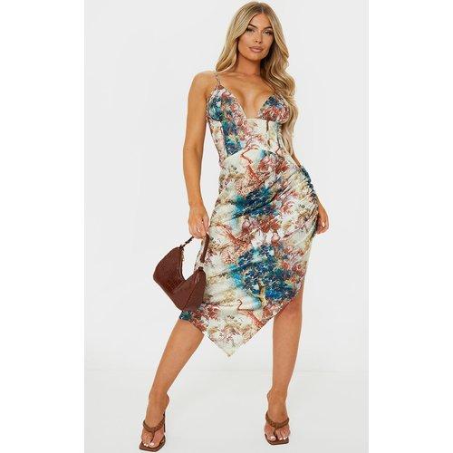 Robe mi-longue satinée imprimé fleuri à jupe froncée et corset - PrettyLittleThing - Modalova