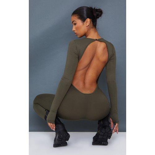 Combinaison en jersey à dos nu et trous pour les pouces - PrettyLittleThing - Modalova
