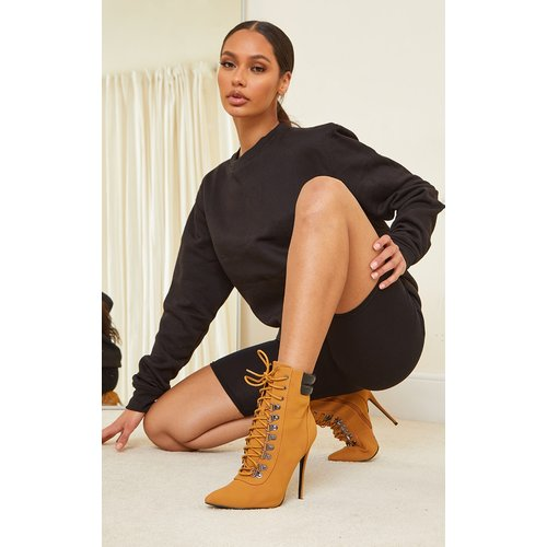 Bottes style rando marron clair à lacets et talon stiletto - PrettyLittleThing - Modalova