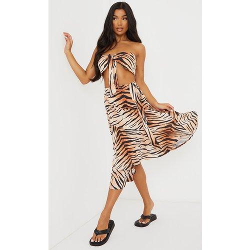 Jupe portefeuille mi-longue imprimé léopard à ourlet volanté - PrettyLittleThing - Modalova