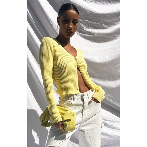 Cardigan boutonné jaune - PrettyLittleThing - Modalova