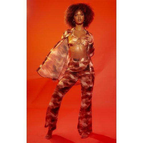 Pantalon flare de plage imprimé vagues abstraites - PrettyLittleThing - Modalova