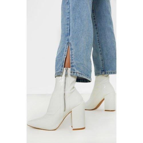 Bottes chaussettes blanches à gros talons et zip latéral - PrettyLittleThing - Modalova
