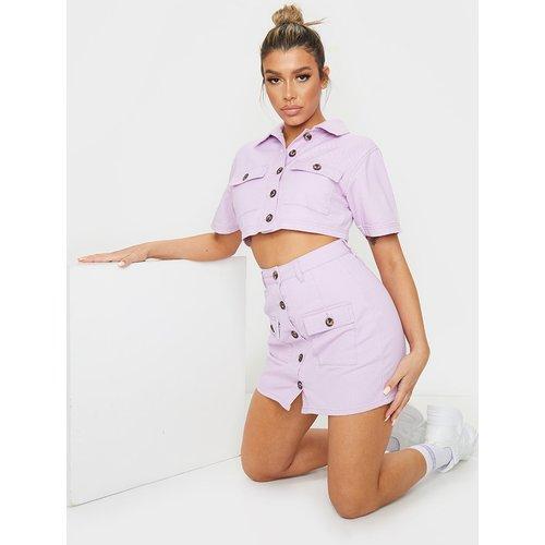 Chemise manches courtes en jean à boutons et détail poches - PrettyLittleThing - Modalova