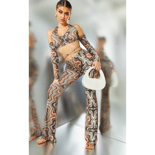 Pantalon moulant flare imprimé tourbillons - PrettyLittleThing - Modalova