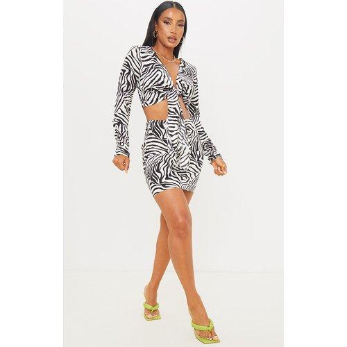 Mini-jupe en maille tissée imprimé zébré noir & blanc - PrettyLittleThing - Modalova