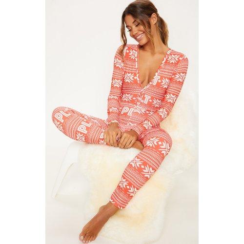 Combinaison de pyjama moulante motif Noël à boutons - PrettyLittleThing - Modalova