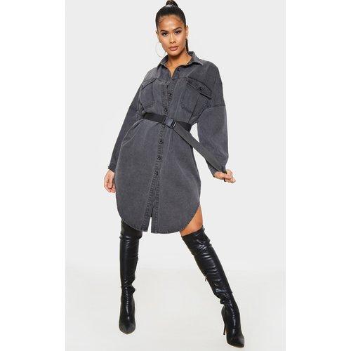 Chemise longue en jean délavé noir oversize - PrettyLittleThing - Modalova