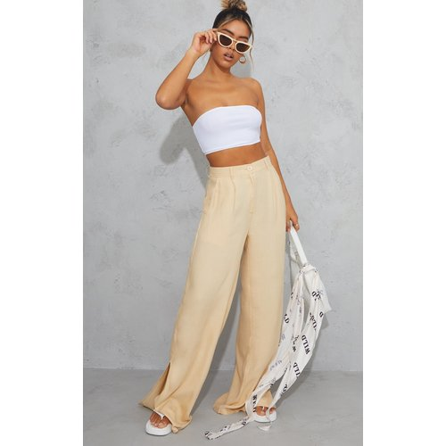 Pantalon ample gris pierre en maille tissée à ourlets très fendus - PrettyLittleThing - Modalova