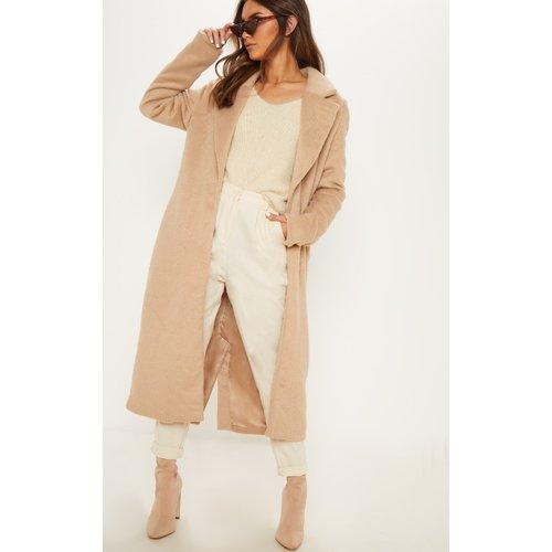 Long manteau camel en laine, Camel - PrettyLittleThing - Modalova