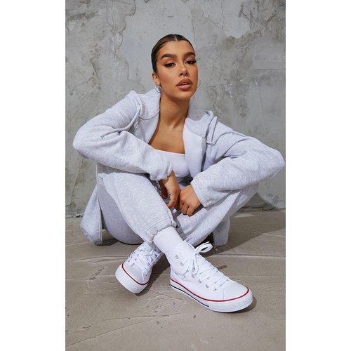Baskets en toile blanches à lacets - PrettyLittleThing - Modalova