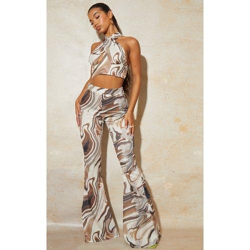 Pantalon évasé imprimé marbre tissé à taille haute - PrettyLittleThing - Modalova