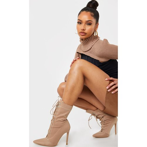 Bottines chaussettes pointues en Lycra à lacets - PrettyLittleThing - Modalova