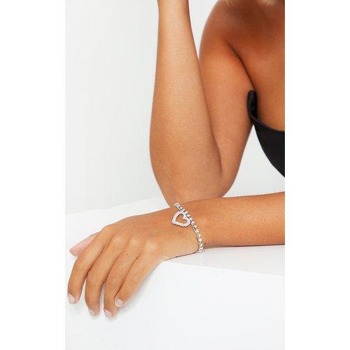 Bracelet à coeur strassé - PrettyLittleThing - Modalova