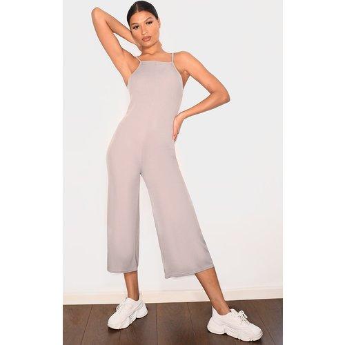 Combinaison jupe-culotte côtelée gris chiné - PrettyLittleThing - Modalova