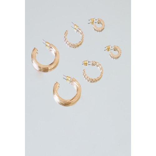 Lot de 3 paires de boucles d'oreilles créoles chunky - PrettyLittleThing - Modalova