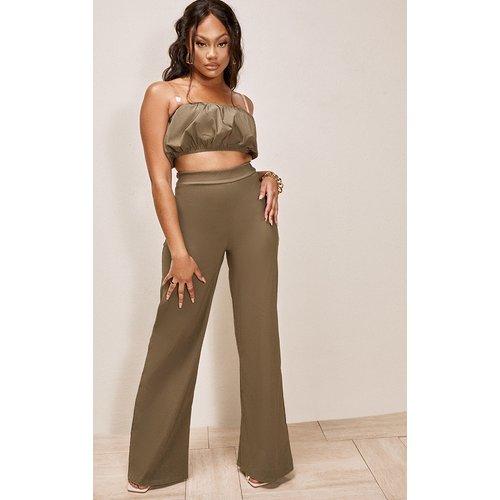 Pantalon large vert taille haute en maille tissée stretch - PrettyLittleThing - Modalova