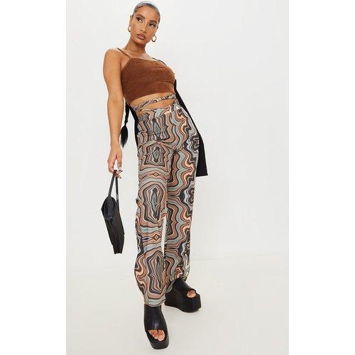 Pantalon droit imprimé marbre à liens sur la taille - PrettyLittleThing - Modalova