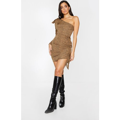 Robe moulante asymétrique à imprimé dalmatien marron et jupe froncée - PrettyLittleThing - Modalova