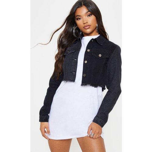 Veste en jean courte noire délavée contrastée - PrettyLittleThing - Modalova