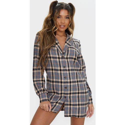 Robe chemise à carreaux gris à manches longues - PrettyLittleThing - Modalova