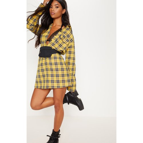 Robe chemise moutarde oversized à carreaux - PrettyLittleThing - Modalova