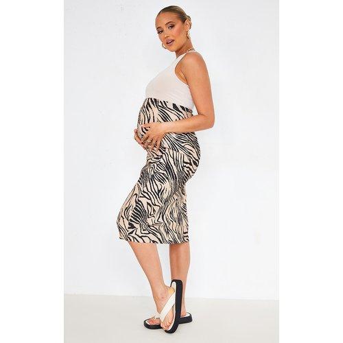 PLT Maternité - Jupe mi-longue imprimé zébrures effet plissé - PrettyLittleThing - Modalova