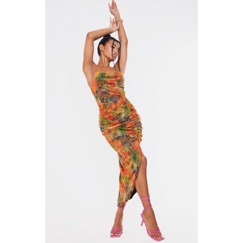 Robe mi-longue imprimé serpent en mesh à bretelles, col bénitier et jupe froncée - PrettyLittleThing - Modalova