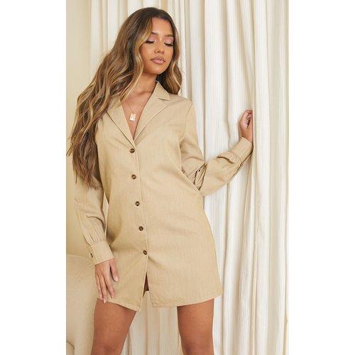 Robe chemise grise à manches longues - PrettyLittleThing - Modalova