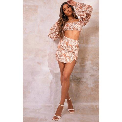 Mini jupe droite imprimé fleuri fendue devant - PrettyLittleThing - Modalova