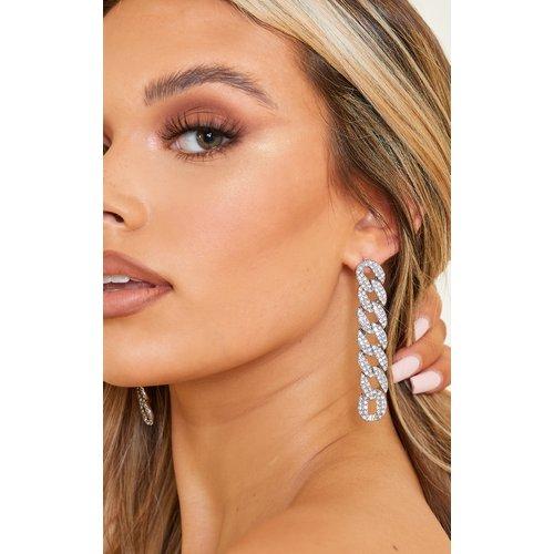 Boucles d'oreilles oversize style chaîne pavées - PrettyLittleThing - Modalova