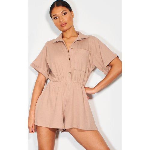 Combishort style chemise en coton à manches courtes - PrettyLittleThing - Modalova