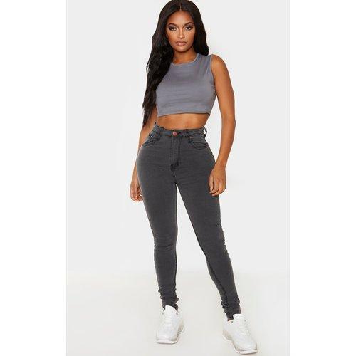 Shape - Jean skinny gris super stretch à taille haute - PrettyLittleThing - Modalova
