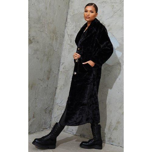 Long manteau boutonné en fausse fourrure  - PrettyLittleThing - Modalova