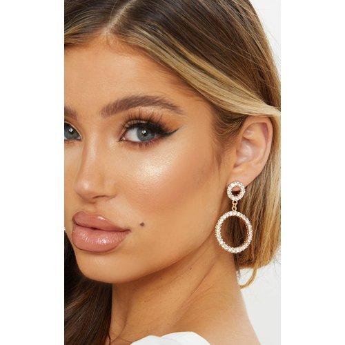 Boucles d'oreilles pendantes à anneau double strassées - PrettyLittleThing - Modalova