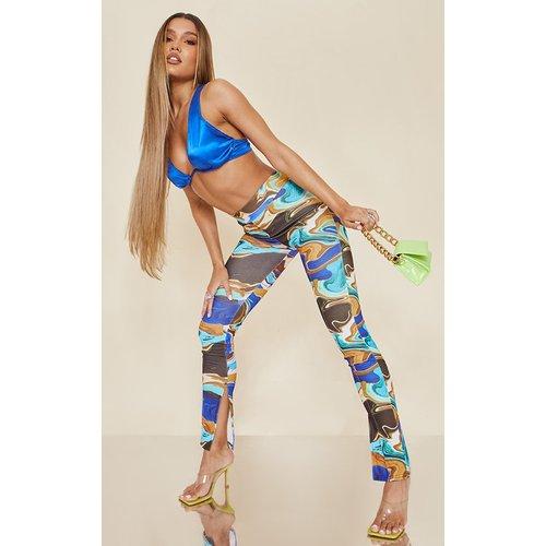 Pantalon skinny imprimé marbre à ourlets fendus - PrettyLittleThing - Modalova