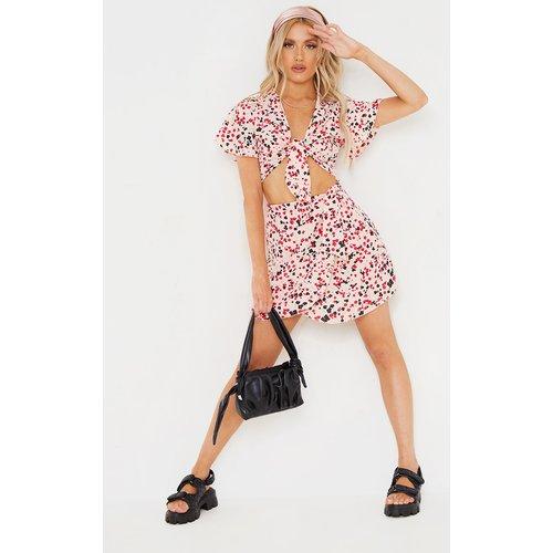 Mini-jupe portefeuille en mousseline de soie imprimé fleuri à taille nouée - PrettyLittleThing - Modalova