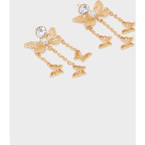 Boucles d'oreilles à pierre fantaisie et pendants papillons - PrettyLittleThing - Modalova